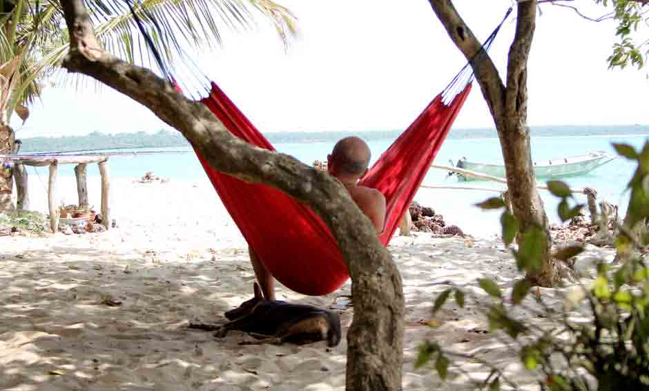 hammock at the beach of kere in guinnea bissau