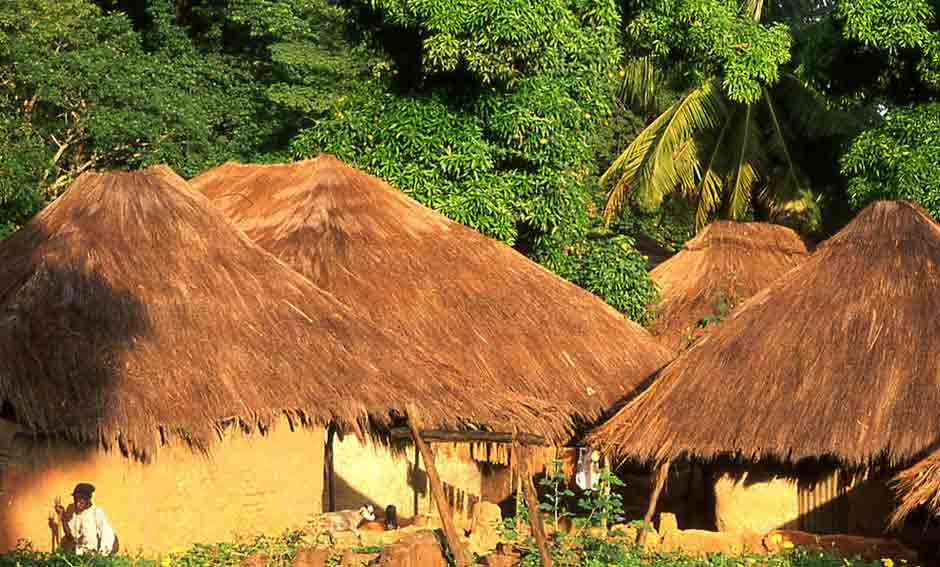 African village at the bijagos archipelago in guinea bissau