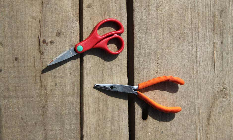 Scissors and pliers are essential accessories