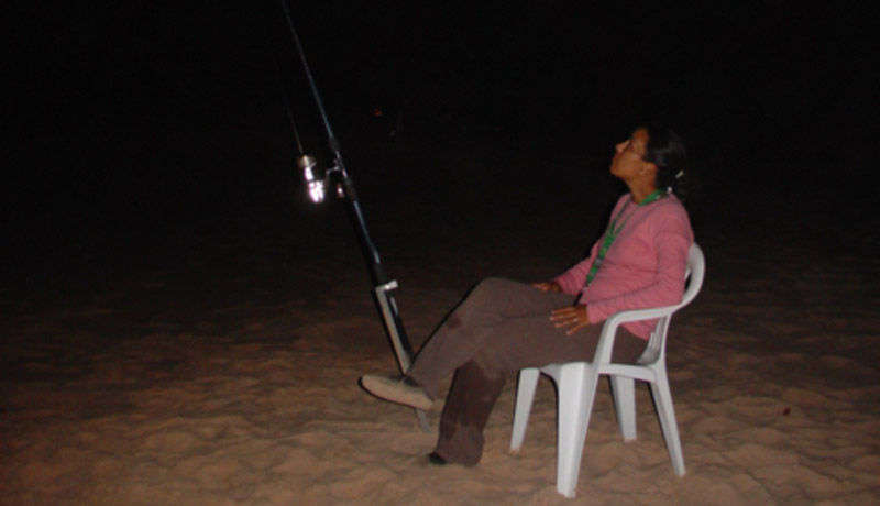 surfcasting during night session on caravella beach bijagos
