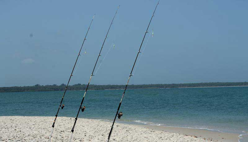 three rods for surfcasting in bijagos  guinea bissau